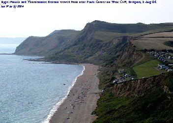 View westward to Eype Mouth and Thorncombe Beacon from West Cliff, Bridport, Dorset