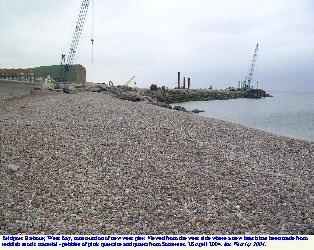 New pebble beach west of the new pier at Bridport Harbour, Dorset, in 2004