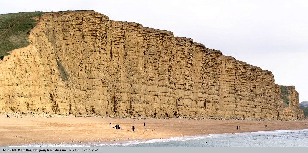 East Cliff, West Bay, Bridport, Dorset - the Upper Lias Bridport Sand, the Upper Reservoir of the Wytch Farm Oilfield is well-exposed in these cliffs