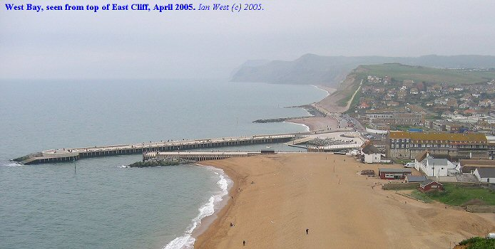Beach and harbour at West Bay, Bridport, Dorset seen from East Cliff in April 2005