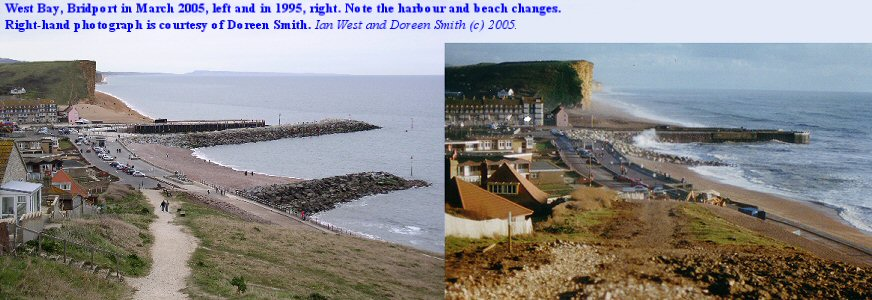 Changes at the Harbour Mouth, West Bay, Bridport, Dorset from 1995 to 2005.