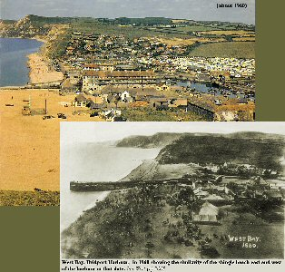 1860 and 1960 photographs of West Bay, Bridport, Dorset
