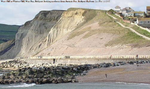 West or Watton Cliff seen from Jurassic Pier, West Bay, Bridport, Dorset
