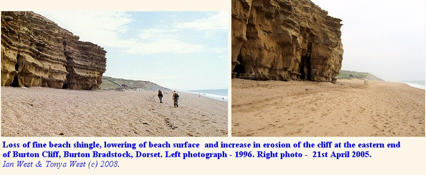 Comparison of the southeastern end of Burton Cliff, Dorset, from 1996 to 2005