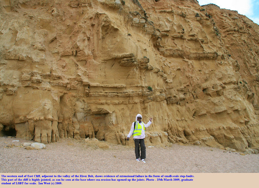The western marginal area of East cliff, West Bay, Bridport, Dorset, showing extensional failure close to the river valley, 25th April 2009