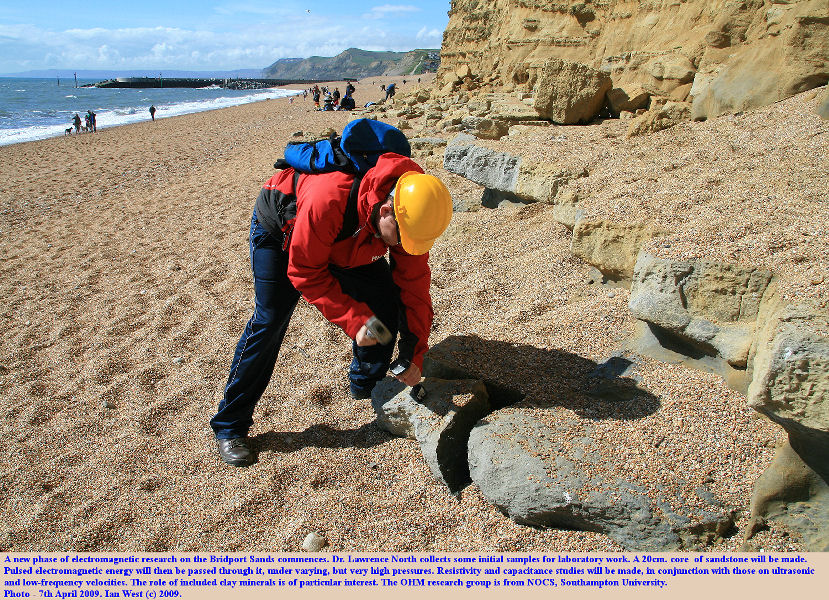 The commencement of new electromagnetic, ultrasonic and low-velocity studies on the Jurassic Bridport Sands, West Bay, Bridport, Dorset, by a member of the OHM research group, 7th April 2009