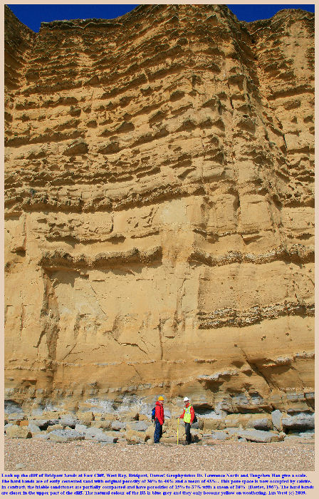 Look up the cliff at the Bridport Sand, the Upper Reservoir Rock of the Wytch Farm Oilfield, seen here at East Cliff, West Bay, Bridport, Dorset, 7th April 2009