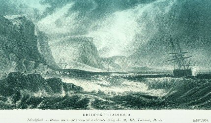 Old etching of stormy sea at West Cliff, West Bay, Bridport, Dorset