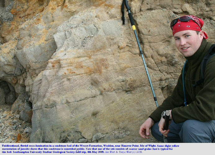 Cross-lamination in a fluvial sandstone sof the Wessex Formation, Wealden, near Hanover Point, Isle of Wight