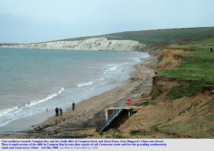 Erosion at Compton Bay, northwest of Brighstone Bay, Isle of Wight, May 2008, seen from Compton Grange Chine or Shippard's Chine