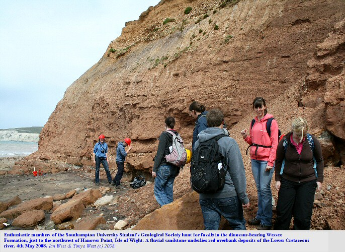 Members of the southampton University Geological Society hunt for dinosaur bones in the Wessex Formation, Wealden, Lower Cretaceous, just northwest of Hanover Point, Isle of Wight