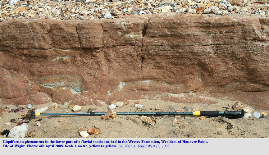 Liquefaction phenomena in the lower part of the a fluvial sandstone in the Wessex Formation of the Wealden at Hanover Point, Isle of Wight, 4th May 2008