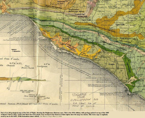 The 1926 geological map of Brighstone Bay, Isle of Wight, printed on the 1895 Ordnance Survey map