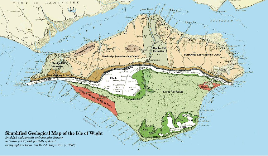 Simplified geological map of the Isle of Wight