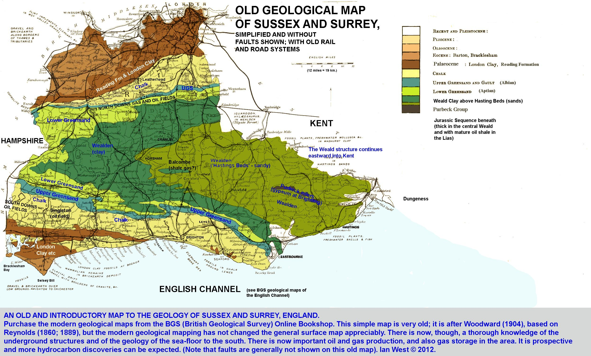 old simplified geological map of sussex and surrey with some additional notes regarding oil