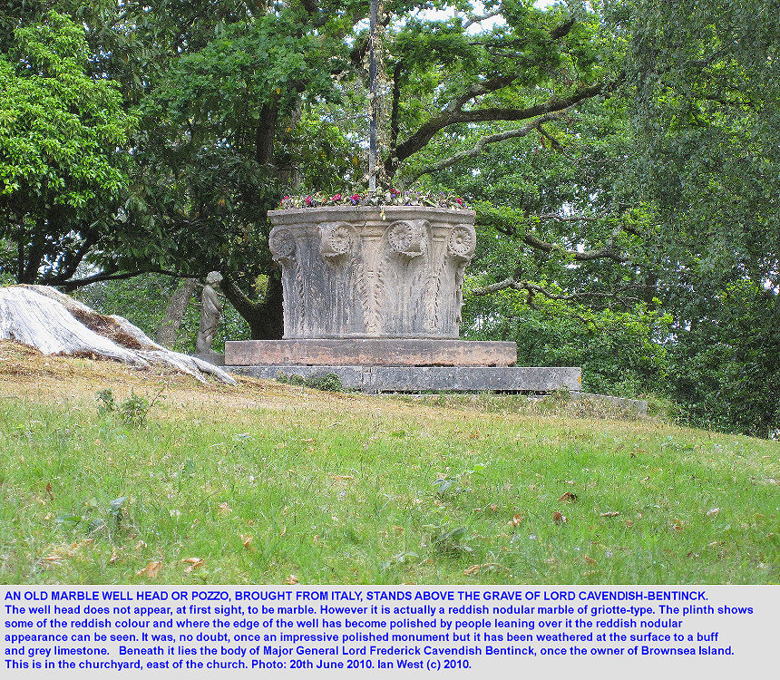 The marble well-head or pozzo used as a monument to Major General Lord Cavendish-Bentinck, who owned Brownsea Island, Poole Harbour, Dorset, from 1871-1891