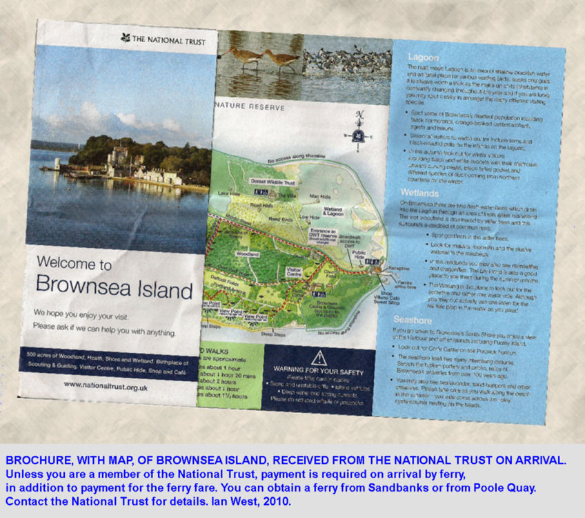 National Trust brochure and map received on arriving at Brownsea Island, Poole Harbour, Dorset, UK