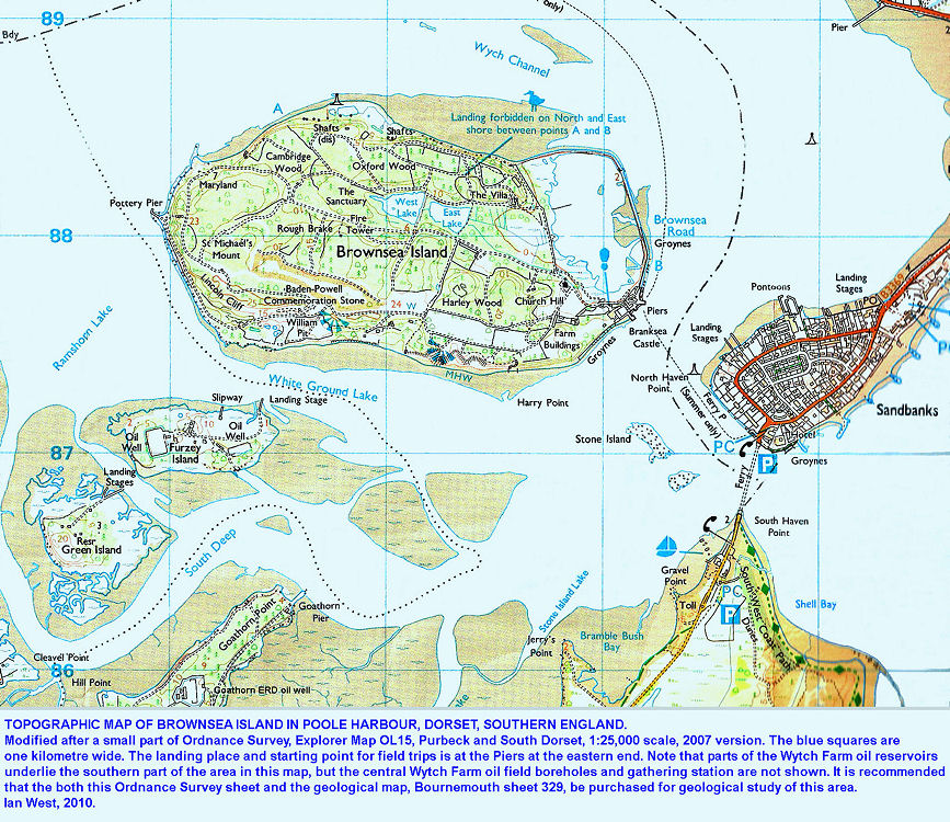 Enlarged topographic map of Brownsea Island, Poole Harbour, Dorset, UK