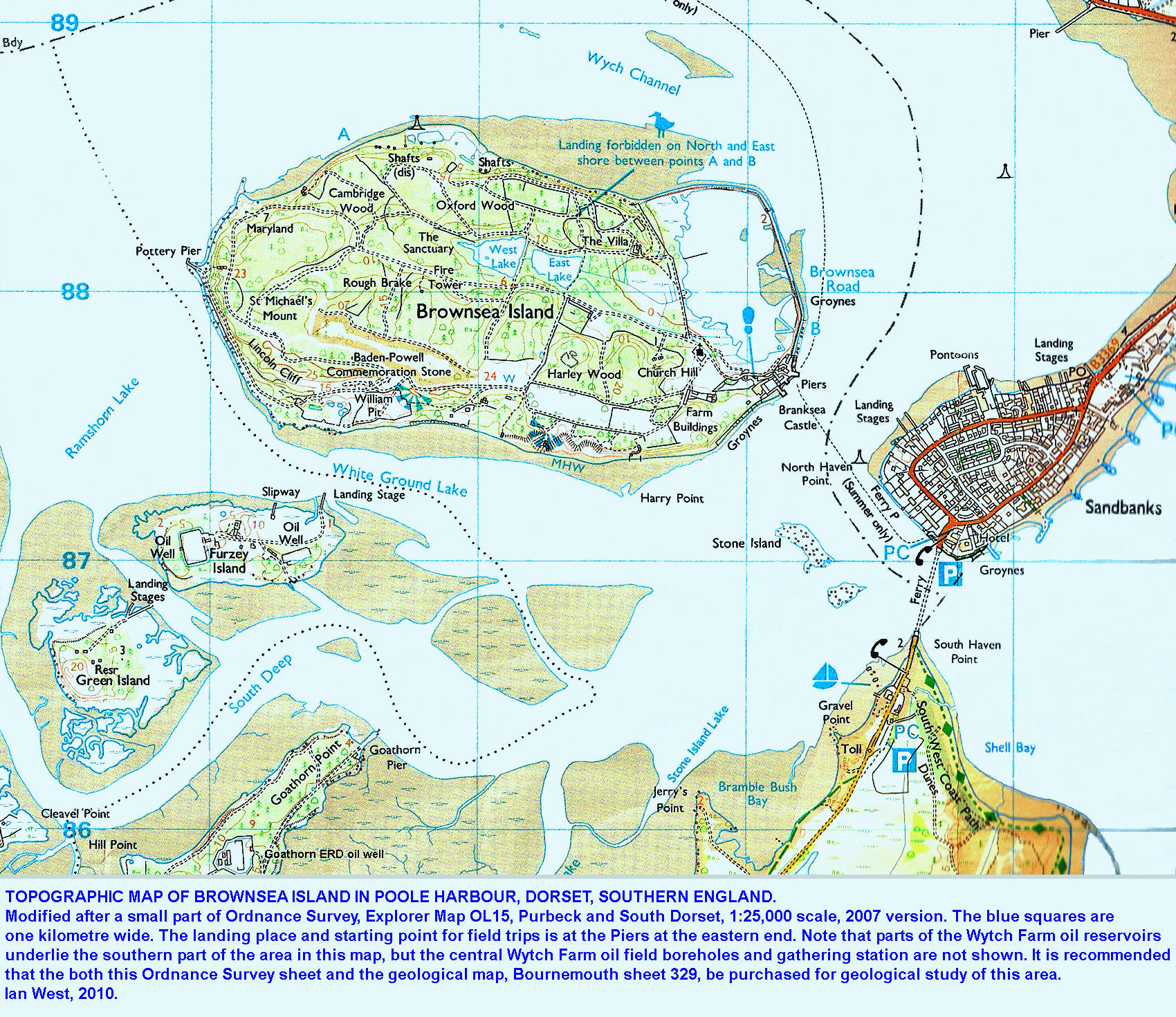 Geology Of Brownsea Island Guide By Dr Ian West - Contour maps online uk
