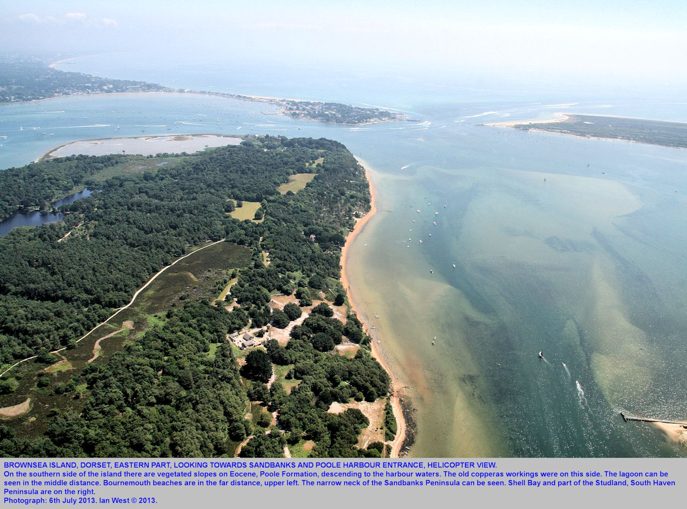The eastern part of Brownsea Island, Poole Harbour, Dorset, UK, seen from a helicopter, 6th July 2013