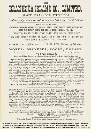 Notice regarding the Brownsea potteries from 1881, Brownsea Island, Poole Harbour, Dorset,UK