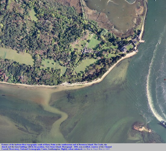 Aerial view of the southeastern part of Brownsea Island, Poole Harbour, Dorset,UK, showing the harbour floor south of Harry Point