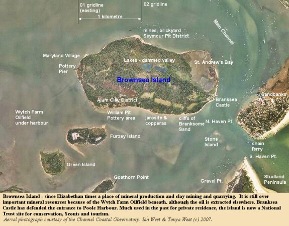 Aerial overview of Brownsea Island in Poole Harbour, Dorset,UK, with some locations of mining and quarrying the mineral resources