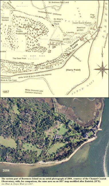The eastern end of Brownsea Island, Poole Harbour, Dorset, in a 1857 map and a 2004 aerial photograph, courtesy of the Channel Coastal Observatory
