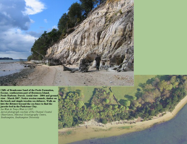 Ground and aerial view of the cliffs at the southeastern part of Brownsea Island, Poole Harbour, Dorset,UK