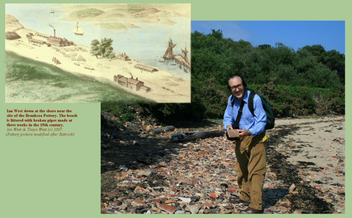 Ian West with remains of pipes near the site of the Branksea Pottery, Brownsea Island, Poole Harbour, Dorset,UK