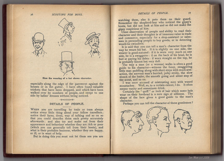 A strange extract regarding hats from Baden-Powell, Scouting for Boys