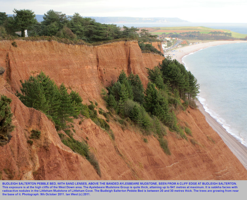 The Budleigh Salterton Pebble Bed, with sand lenses, and above the Aylesbeare Mudstone in the cliff at West Down, Budleigh Salterton, Devon, 2011