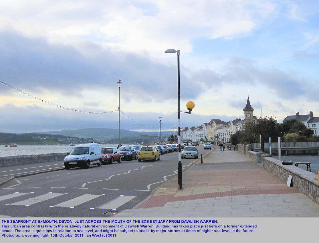 Exmouth sea front, much developed, but with relicts of the former natural environment, East Devon, October 2011