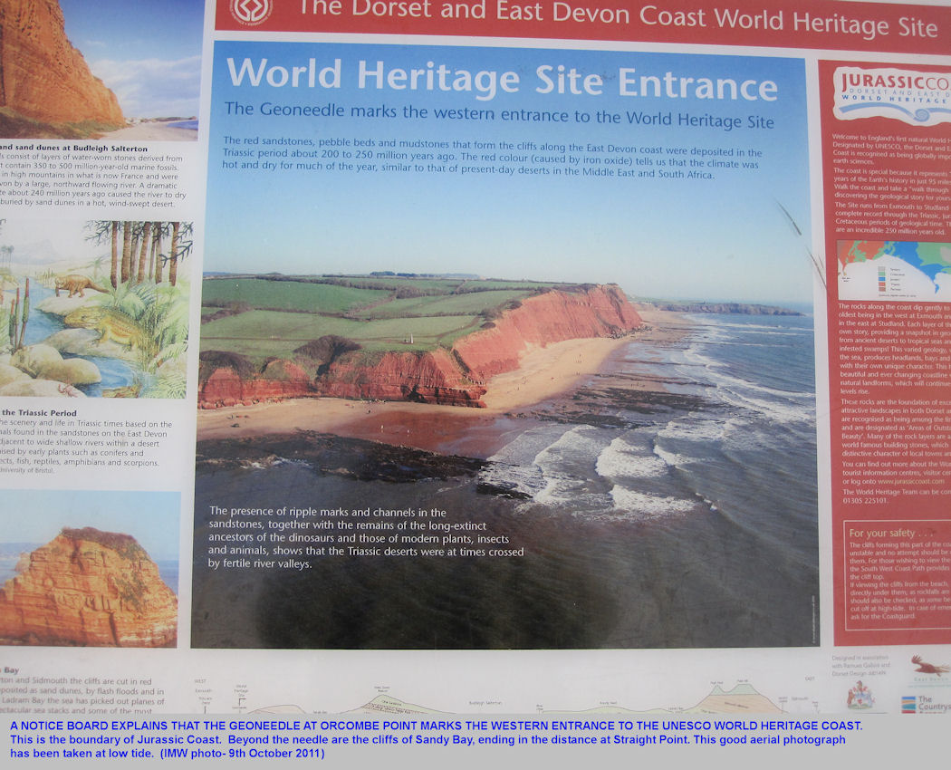 A notice explaining the Geoneedle at the western end of the UNESCO Dorset and East Devon World Heritage Coast, or Jurassic Coast, Orcombe Point, near Exmouth, Devon, 2011