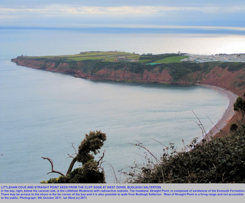 Littleham Cove and Straight Point from the cliff edge at West Down, Budleigh Salterton, Devon, 2011