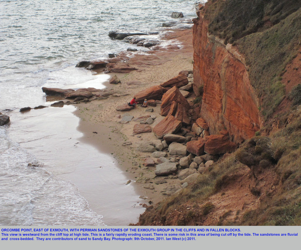 Orcombe Point, east of Exmouth, seen from the cliff top at Sandy Bay, Devon, 2011