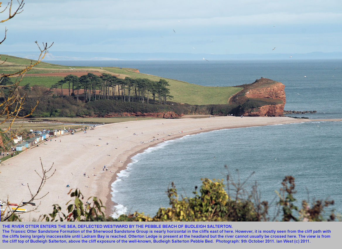 A view of the pebble beach and the mouth of the River Otter from the cliff top of Budleigh Salterton, Devon, 2011