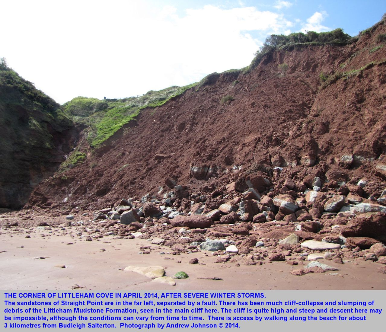 The corner of Littleham Cove at the fault adjacent to Straight Point, west of Budleigh Salterton, Devon, April 2014, photograph courtesy of Andrew Johnson