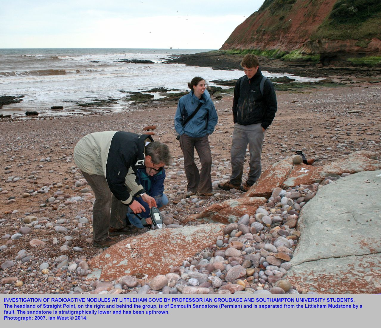 Southampton University research on radioactive nodules in the Littleham Mudstones at Littleham Cove, west of Budleigh Salterton, Devon, with part of Straight Point in the background, April 2007