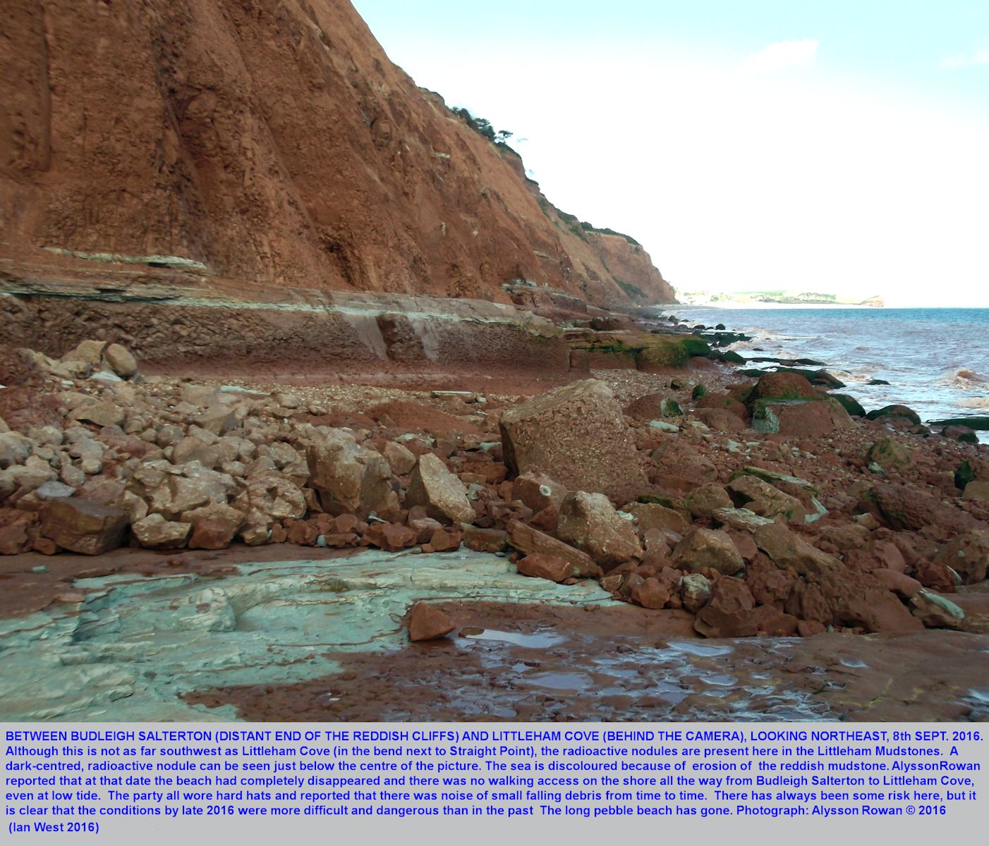 Eroding cliffs of Littleham Mudstone, with radioactive nodules, about half-way between Budleigh Salterton and Littleham Cove, Devon, photograph by Alysson Rowan