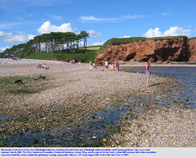 The mouth of the River Otter, with a cliff of Otter Sandstone, seen from the end of the pebble spit at Budleigh Salterton, Devon in August 2005 at low tide