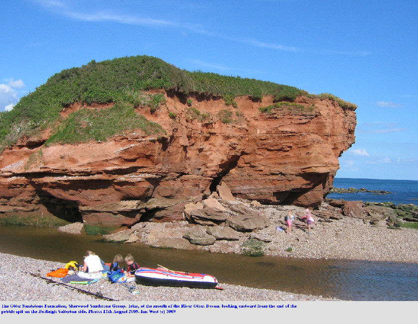 A view of the Otter Sandstone Formation, Sherwood Sandstone Group, Trias, mouth of the Otter River, near Budleigh Salterton, Devon, August 2005