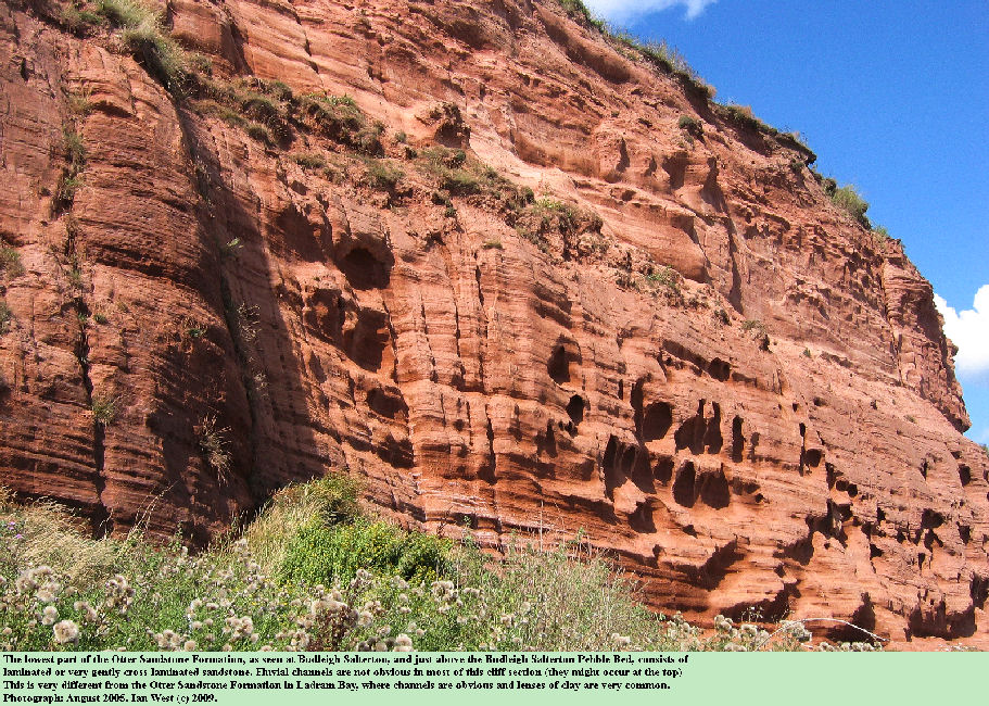 The lower facies of the Otter Sandstone Formation, probably aeolian, at Budleigh Salterton, Devon, August 2005