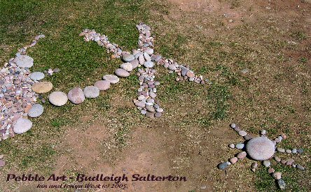 Use of Budleigh Salterton pebbles in art work!