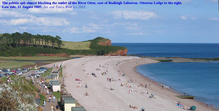 Spit almost blocking outlet of the River Otter, east of Budleigh Salterton, Devon