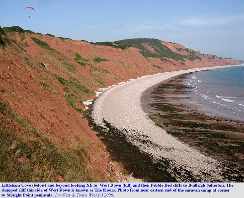 Littleham Cove, near Budleigh Salterton, Devon, seen from the cliff top