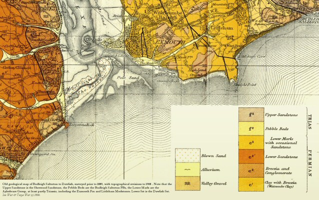 Old geological map of Dawlish to Budleigh Salterton, Devon, including Exmouth