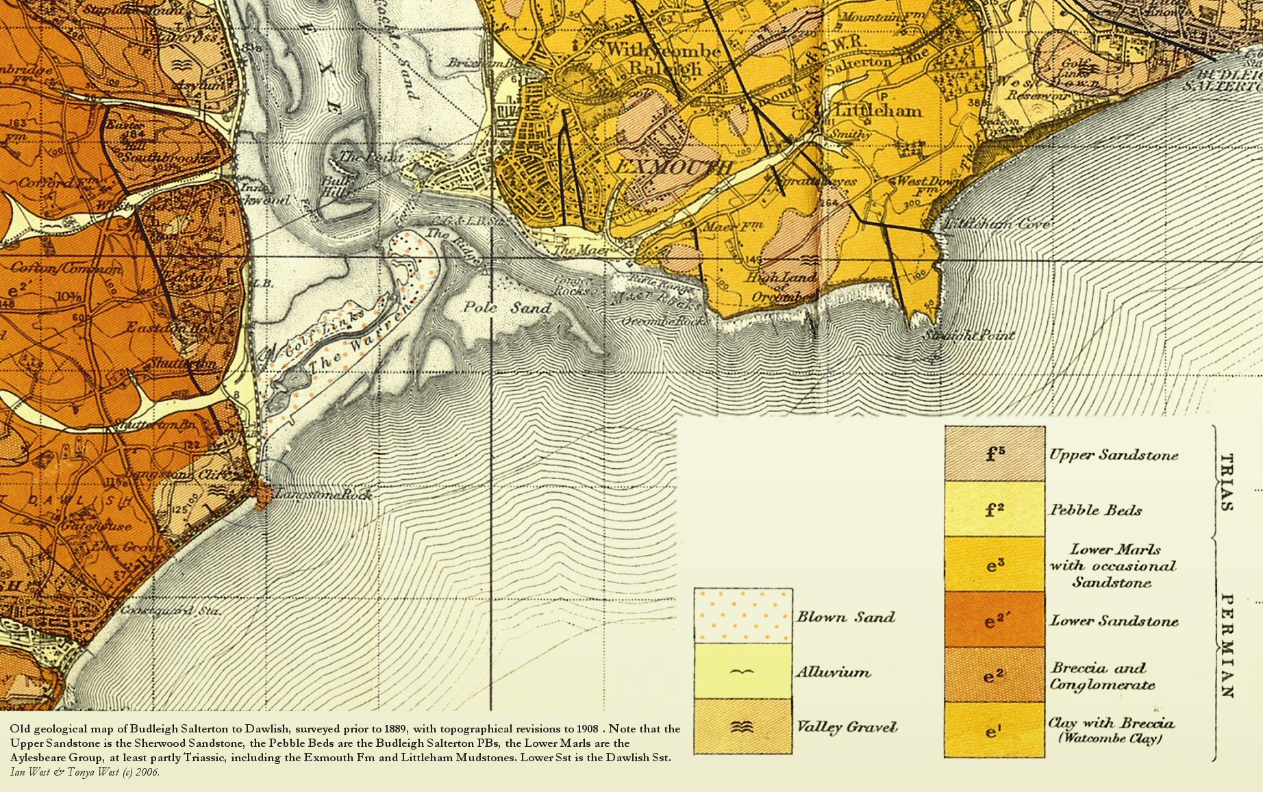 Old Geology Map Of Dawlish To Budleigh Salterton Devon Including Exmouth