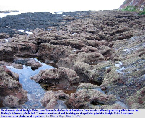 Erosion of sandstone by pebble abrasion, east side of Straight Point near Budleigh Salterton, Devon