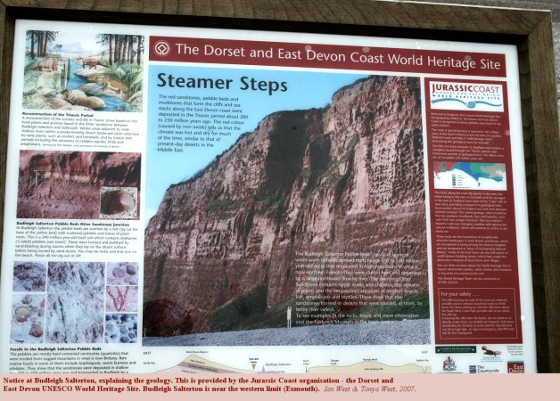 Notice explaining the geology at Budleigh Salterton, Devon, provided by the Jurassic Coast organisation